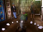 Tsáchila shaman begins the cleansing ceremony.