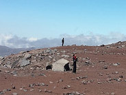 The desolate fields of volcanic rock on the slopes of the Chimborazo Volcano