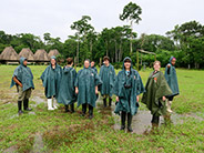 The students suited up for a hike to an observation tower in the Añangu village.