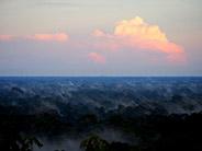 The sun sets over the Amazon rainforest.