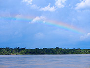 A rainbow above the Napo River in the Amazon basin.