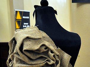 Kathleen Kowaslky's 3-Dimensional Burlap dress design