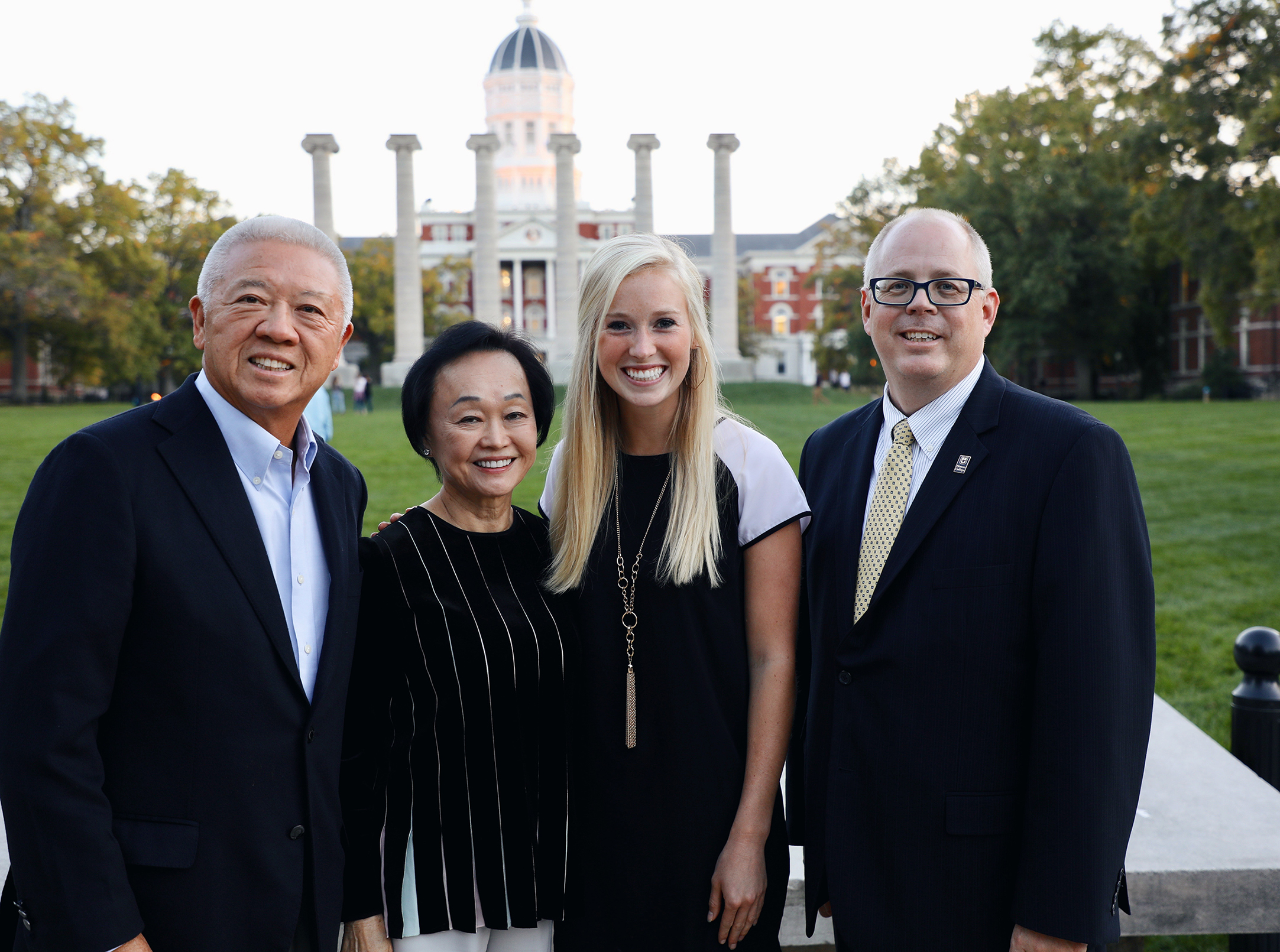 Andrew and Peggy Cherng, Baylee Francka and J.D. Bowers